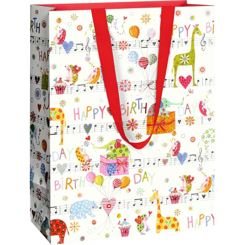 Large Happy Birthday (Musical Note / Animals) Gift Bag