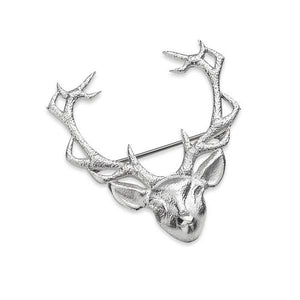 Stag Head Brooch St Silver - Handmade in Scotland by Celtic Art