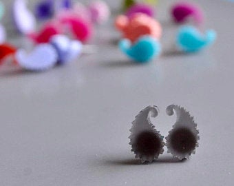 Acrylic Paisley Stud Earrings
