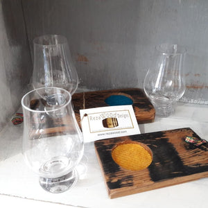 Single Glass Tasting Tray made from Upcycled Whisky Barrels