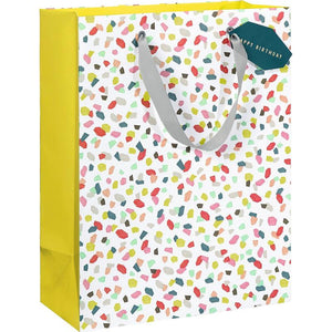 Multi Coloured Med Gift Bag - Happy Bday Tag