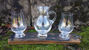 Whisky Tasting Glass Set (2 Glasses 1 Jug) on upcycled whisky stave tray