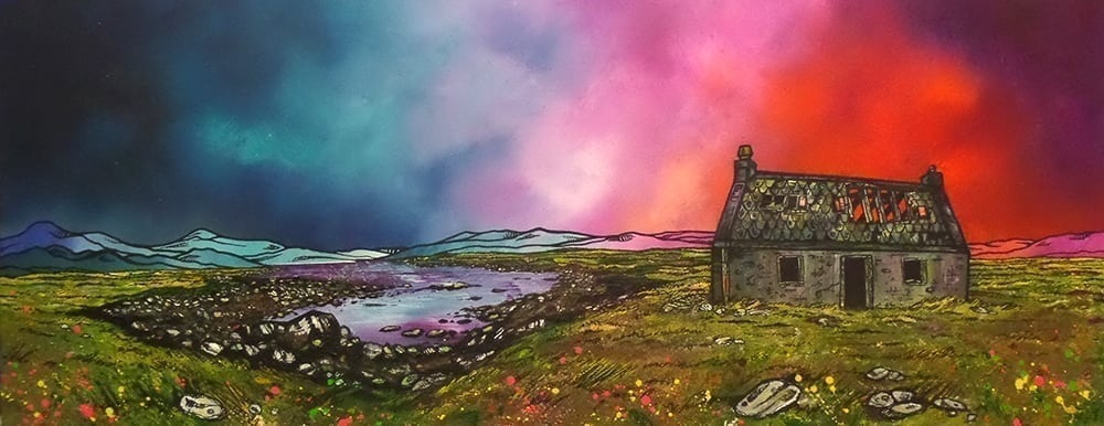 XLarge Framed Print - South Uist Croft, Hebrides (Code 001694) by Artist Andy Peutherer