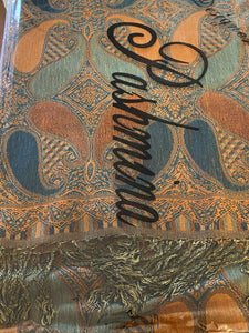 Paisley Orange/Blue Pashmina Scarve