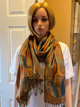 Load image into Gallery viewer, Paisley Orange/Blue Pashmina Scarve