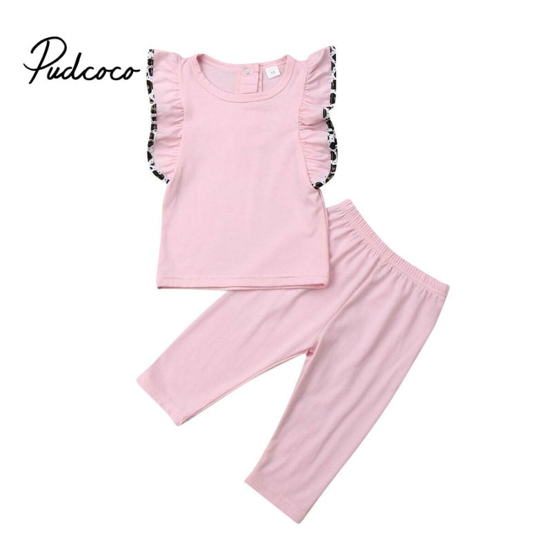0 1 2 Years Toddler Kids Baby Girls Clothes set Summer Flare Sleeve T-shirt and long Pants Cute lovely Sweet Streetwear outfits - Buy Babby