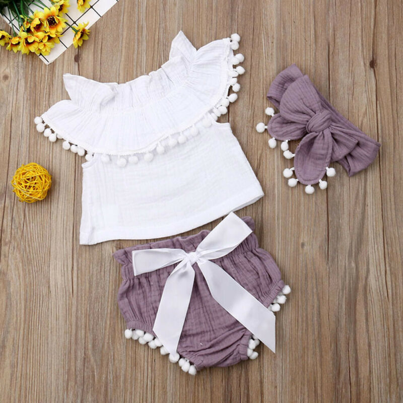 0-24M 3Pcs Cotton Linen Baby Girl Clothes Kid Girl Outfit Clothes Linen T-shirt Top+Shorts Pants Toddler Infant Summer Clothing