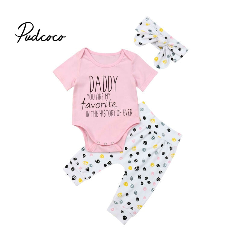 0-24M Cute Baby Girls Summer Clothing Kid Bodysuit Tops+Dots Pants +Headband 3pcs Outfits Kids Fashion Clothes toddler clothes - Buy Babby