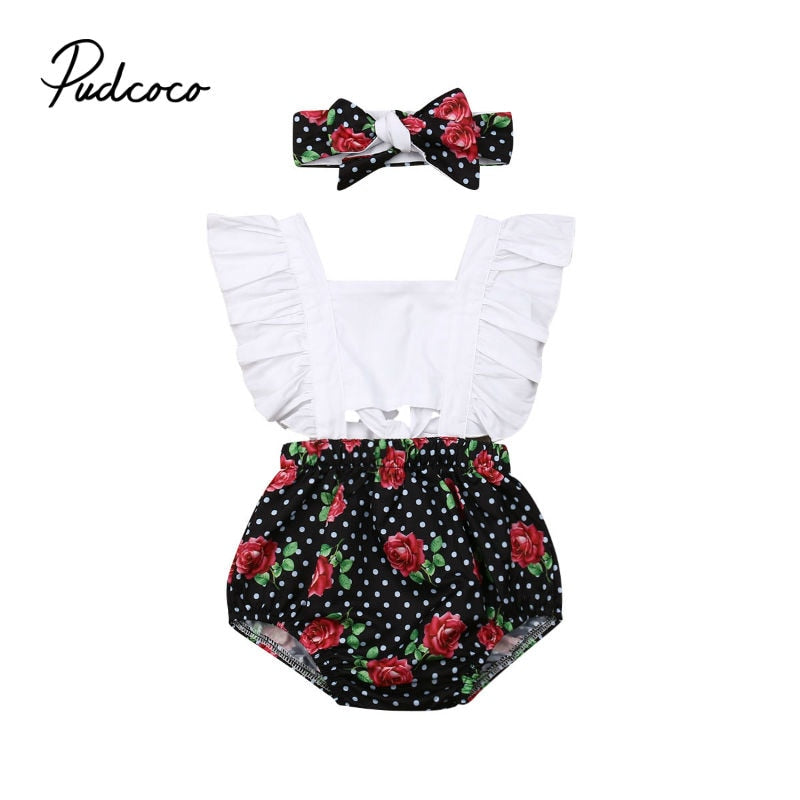 0-2T Babies Girl Summer Clothing Set Baby Girls Patchwork Romper +Headband 2pcs Outfits Sets New Birsthday Party Clothing - Buy Babby