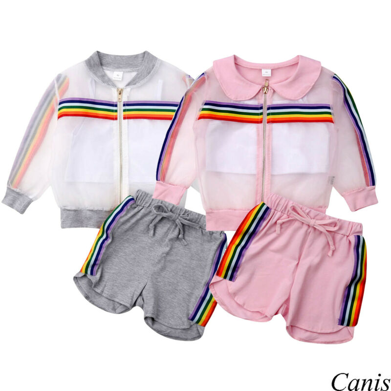 1 2 3 4 5 6 7 Years Age Newborn Kid Baby Girl Fashion 3PCS Rainbow Sets Long Sleeve Coat+Vest+Shorts Outfit Clothes 2020 Summer - Buy Babby