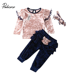 1-6Y Kids Baby Girls Velet Clothes Sets Autumn Casual Solid 2Pcs Fly Long Sleeve O-Neck Tops Bow-knot Ruffles Pants 3Pcs Outfits - Buy Babby