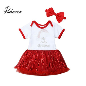 1 Years My First Christmas Newborn Toddler Baby Girls Short Sleeve Sequins Dresses+Headwear Outfits Set Clothes 2019 For Xmas - Buy Babby