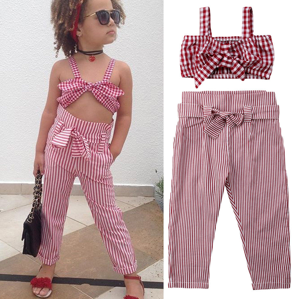 Matchy Stripe Crop Top and Bow-Knitted Square Pants - Buy Babby