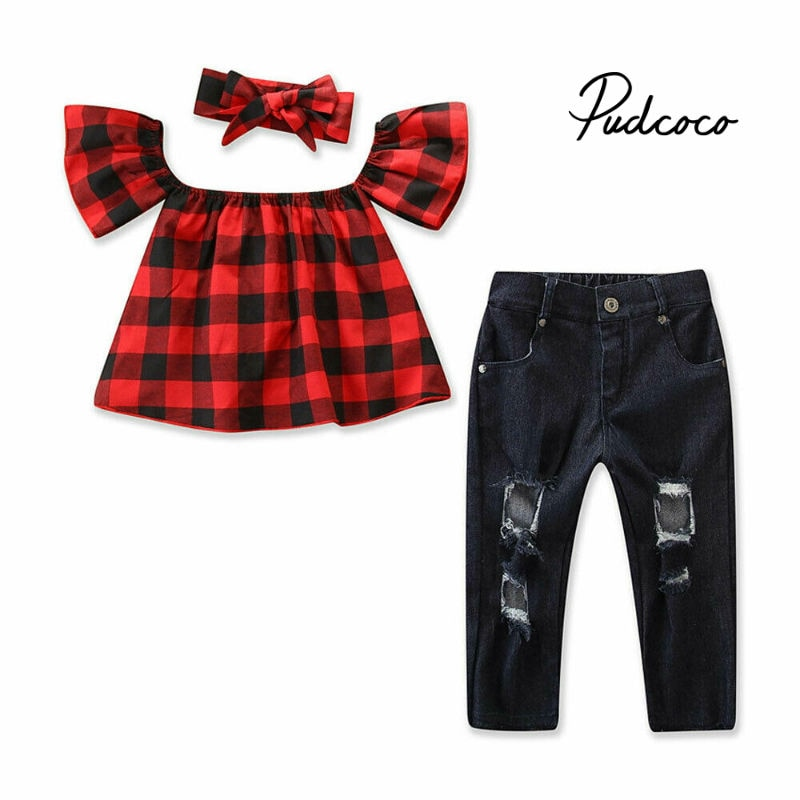 2-7T Toddler Kids Baby Girls Clothes set Summer Off Shoulder Lace Crop Top and Denim Pants Cute lovely Sweet Streetwear outfits - Buy Babby