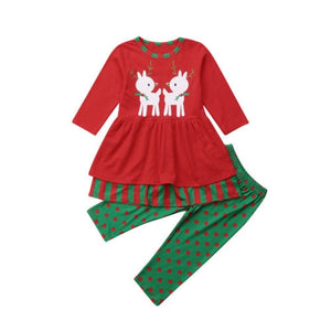 2 Pcs Infant Baby Girls Xmas Deer T-shirt Lace Tops Long Pants Leggings Outfits Set 1-6Y Kids Girl Christmas Clothing - Buy Babby