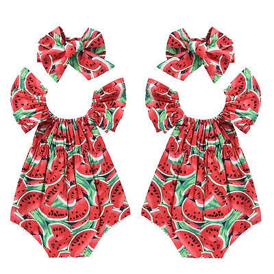 Toddler Girls Watermelon Sleeveless Cotton Rompers Jumpsuit - Buy Babby