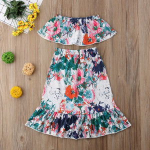 2018 Brand New 2pcs Toddler Infant Child Kid Baby Girl Clothes Strapless Crops Tops Tank+Long Skirt 2Pcs Set Floral Outfits 1-6T - Buy Babby