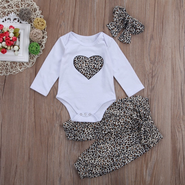 2018 Brand New Lovely Newborn Toddler Infant Baby Girl Romper +Long Floral Pants+Headband 3Pcs Outfit Leopard Heart Clothes Sets