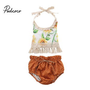 Brand New Newborn Infant Baby Girls Summer Causal 2PCS Sleeveless Belt Lace Sunfolwer Tassel Vest Tops Bow Shorts 0-24M - Buy Babby