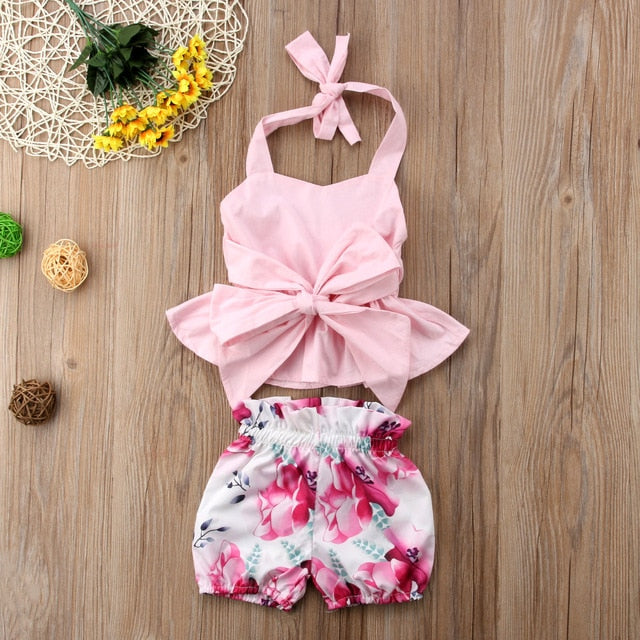 2018 Brand New Summer Newborn Infant Toddler Baby Girls 2PCS Sets Floral Sleeveless Belt Bowknot Ruffles Vest Tops Floral Shorts