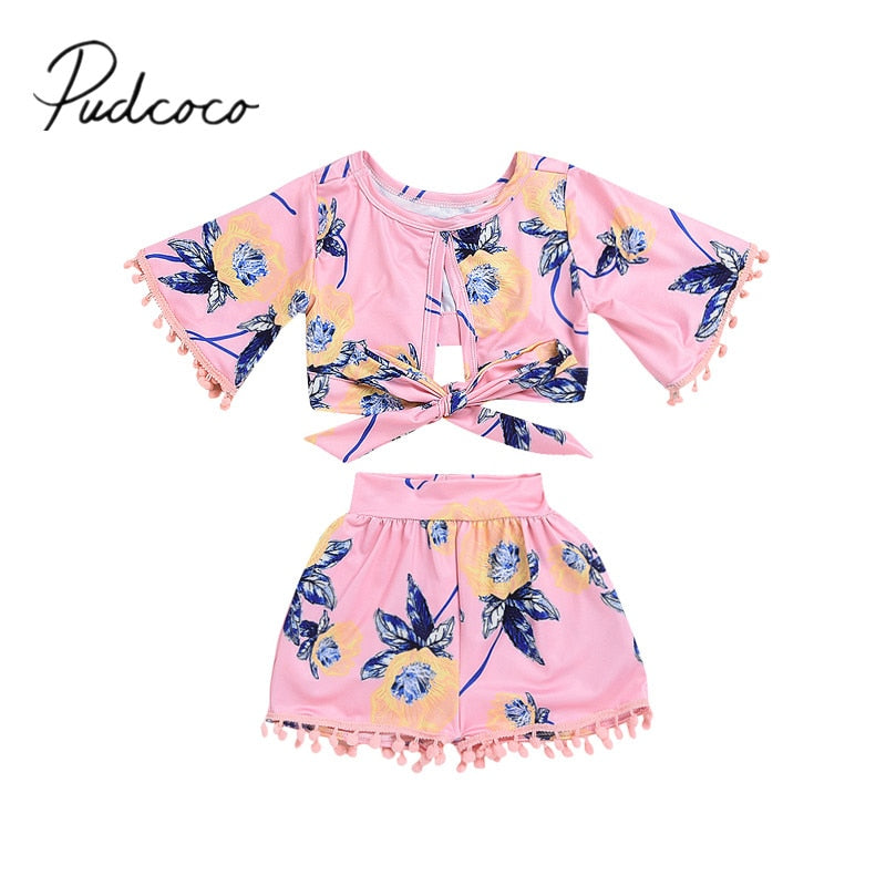 2018 Brand New Toddler Baby Girls Fashion Summer 2PCS Floral Print Tassel Belt Short Sleeve T-Shirts Tops+Shorts Outfit 6M-5Y - Buy Babby