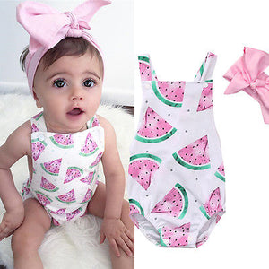 Summer Cute Baby Girls Romper Jumpsuit Headband Watermelon Printed Outfits Sunsuit Set New 0-24M Children Kids Clothes Hot - Buy Babby