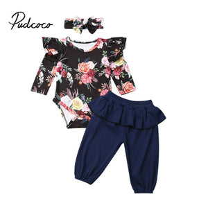 2019 Autumn Warm Clothing Newborn Baby Girl Clothes Set Floral Clothes Bodysuit Romper +Long Pants+Headwear Outfits Age 0-24M - Buy Babby