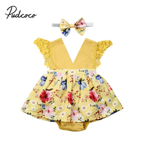 2019 Brand Newborn Toddler Infant Baby Girls Bodysuit Dresses +Headband Skirt V-Neck Jumpsuit Clothes Outfits 2PCS Set Yellow