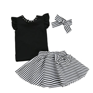2019 New Summer Baby Girl T-Shirt Tops+Tutu Striped Skirts With Headband Outfit 3Pcs Set Kids Clothes 1-6Y - Buy Babby