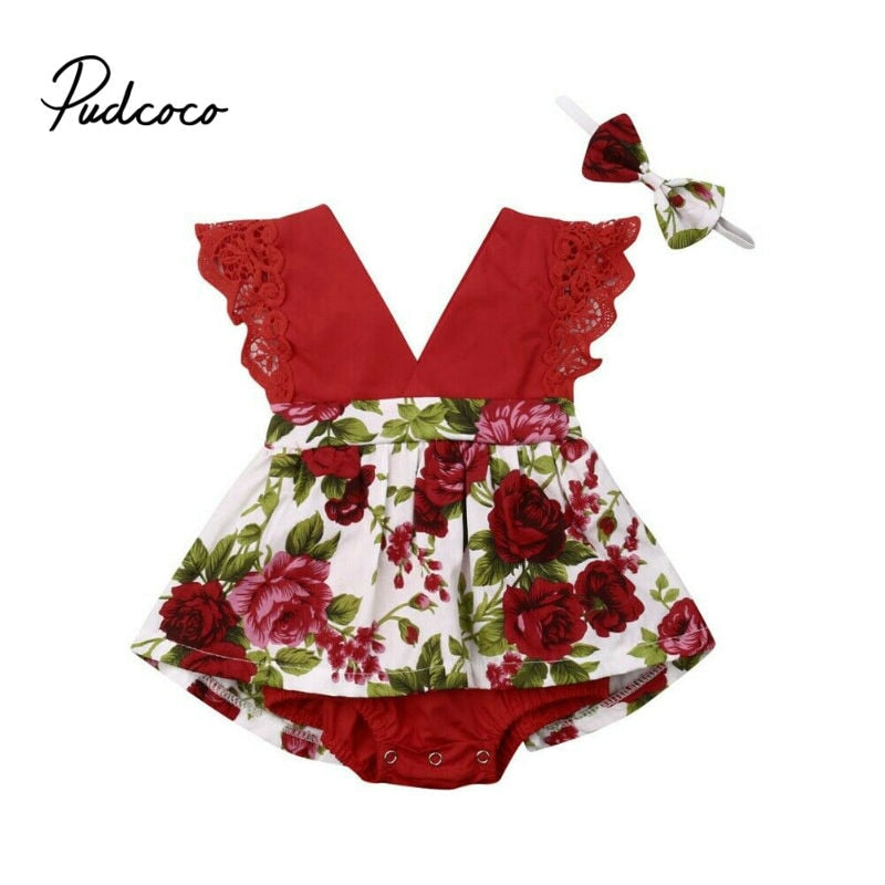 2019 Summer baby girl clothing set Floral Romper + Headband Ruffle False Dresses baby girl clothes Newborn Outfits