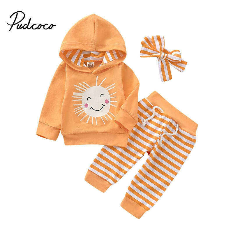 2019 autumn fashion baby girl clothes cotton long sleeve Pullover Hooded Sweatshirt + Striped pants 3pcs bebes tracksuit set - Buy Babby