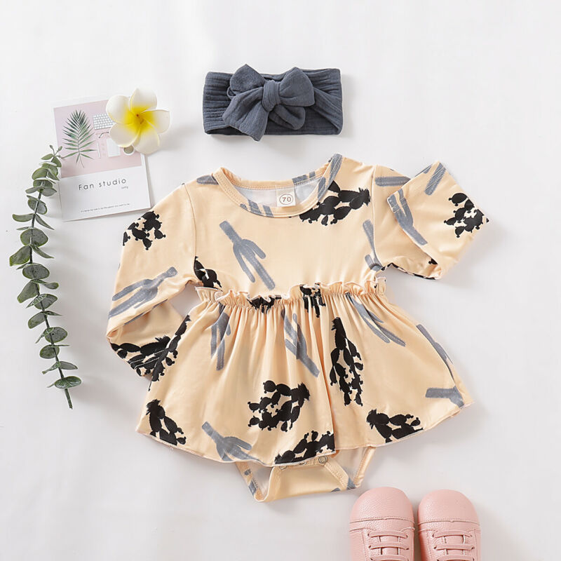 2019 new baby girl Dress Clothing Newborn Kids Baby Girls Outfits Clothes Romper Bodysuit+Headwear 2Pcs Set - Buy Babby