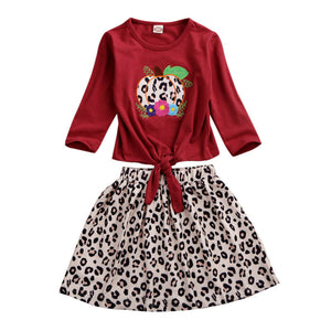 2020 6M-4Y Summer Autumn Infant Kids Baby Girl Clothes Sets Leopard Long Sleeve Tops T-Shirt+Skrits Outfits - Buy Babby