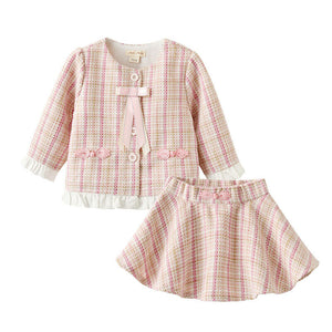 2020 Baby Girl Clothes Set Toddler Kid Baby Girls Plaid Long Sleeve Top Sweatshirt Skrits Princess Outfit Hot Autumn Clothing