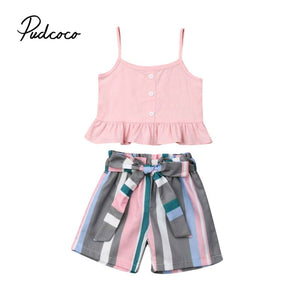 2020 Children Clothes Set Newborn Baby Girl Kid Sling Crop Tops Striped Short Pant Trousers Summer Fashion Girl Clothes Set 1-6T - Buy Babby