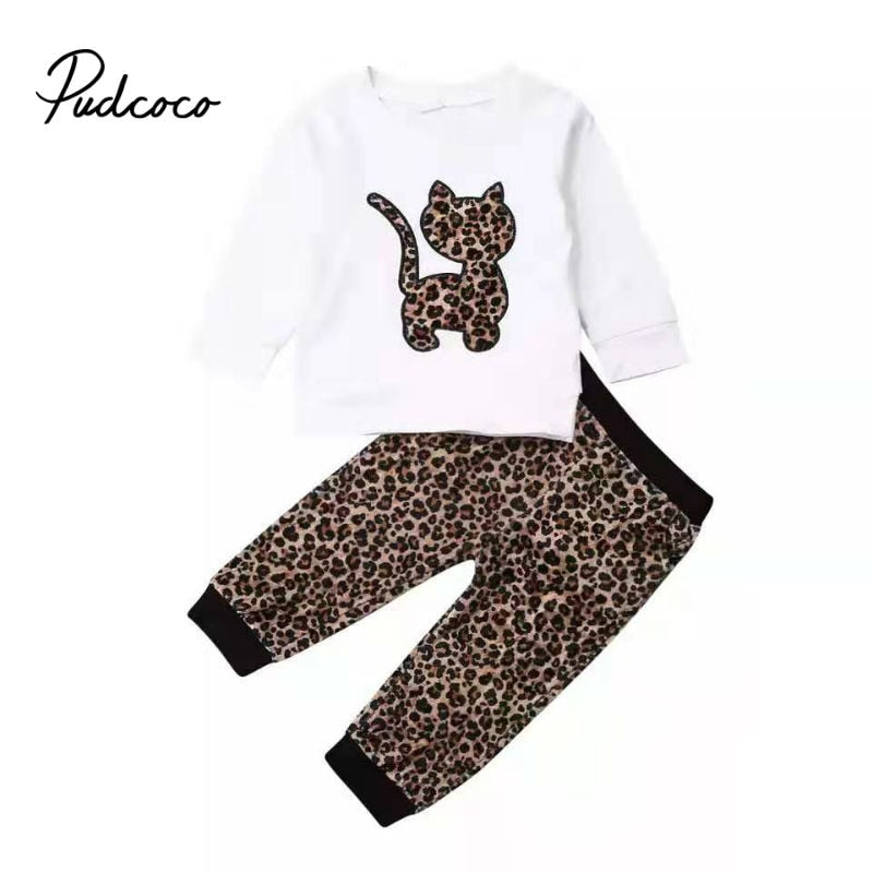 2020 Cute Cartoon Cat Clothing 2pcs Baby Girls Clothes Sweatshirts+Leopard Pants 6M-4Y Age Ifant Toddler Newborn Kid Outfits Set - Buy Babby