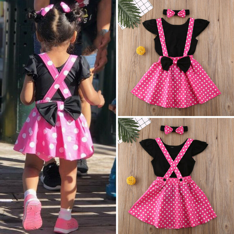 2020 New 3PCS Newborn Baby Girls Short Sleeve Dot Baby Clothes Bodysuits Tops Overalls Skirts Headwear Outfit Autumn 0-4T - Buy Babby