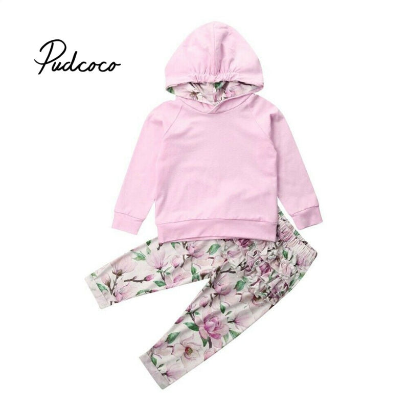 2020 Spring Newborn Baby Girls Hooded Sweatshirt Pants Flower Ruffles Long Sleeve hoodie Infant kids Fall clothes New Years - Buy Babby