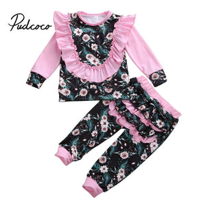 2020 Spring Newborn Baby Girls Sweatshirt Ruffles Pants Flower Print Long Sleeve Tops Infant kids Fall clothes New Years Gift - Buy Babby