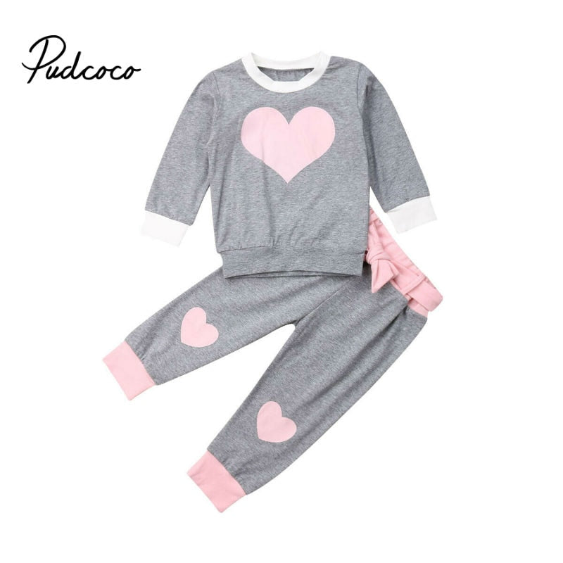2020 Springs Newest Newborn Baby Girls Clothes Long Sleeve Top Swaetshirts Love Print Pants 2Pcs Outfits Clothes Tracksuits - Buy Babby