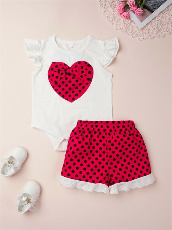 2020 Summer Girls Clothes Set Toddler Kids Baby Polka Dot Love T shirt Shorts Skirts Newborn Children Girl Clothing 1 2 Years - Buy Babby