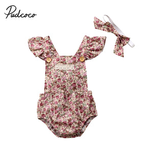 2020 Sweet Newborn Toddler Kid Baby Girls Floral Lace Sleeveless Clothes Bodysuit +Headband Outfits Set - Buy Babby