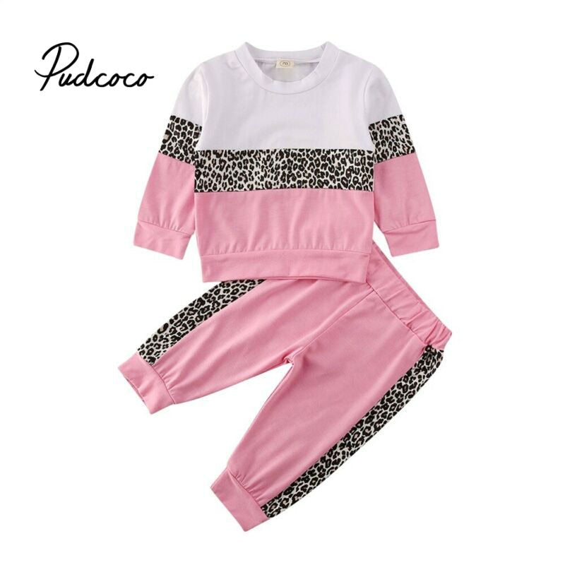 2020 Toddler Girls Kids Leopard Long Sleeve Sweatshirt Tops Floral Pants 2pcs Outfits Set Clothes Pullover Sunsuit Tracksuit - Buy Babby