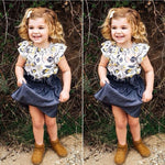 2PCS Fashion Clothes-Sets Outfit Floral Fly Sleeve Baby-Girl Infant Cute Top-T-Shirt Denim Solid Skirt Summer 6M-4Year - Buy Babby