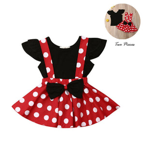 2PCS Toddler Infant Kids Baby Girl Solid Fly Sleeve T-shirt Overalls Polka Dot Suspender Skirt Outfit Set Clothes 6M-3Y - Buy Babby