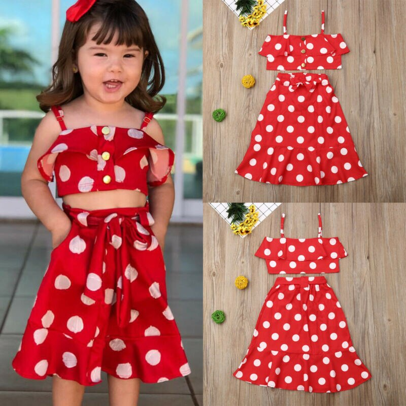 2Pcs Brand New Fashion Newborn Toddler Baby Girl Polka Dolt Outfit Set Bow Butterfly Slevee Tops Vest Long Pant Skirt 1-6Y
