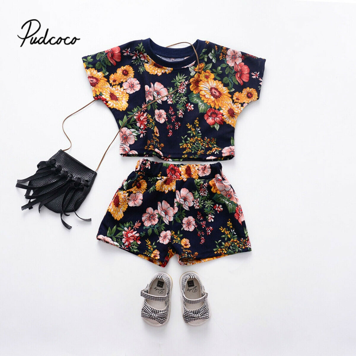 2Pcs Newborn Infant Baby Girl clothes set Batwing Short Sleeve Loose Tops +Short Pants outfit Summer clothes set