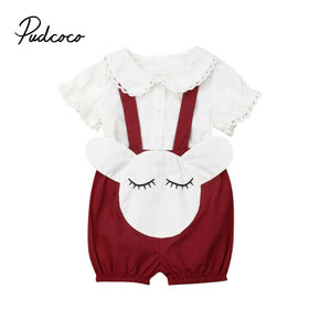 2pcs Newborn Baby Girl Clothes short sleeve Blouse White Lace Tops +Cartoon Overalls suit Pants Outfits clothes set 0-24m - Buy Babby