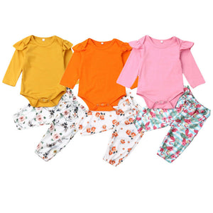 2pcs Newborn Baby Girls Little Long Sleeve O-Neck Romper+Floral Long Pants Bodysuit Outfits Set Cotton Clothes 0-24M - Buy Babby