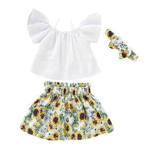 3PCS 2019 Brand Summer Girls Clothing Sets Fashion Cotton Blend solid short sleeve T-shirt and Sunflower Skirt girls clothes - Buy Babby